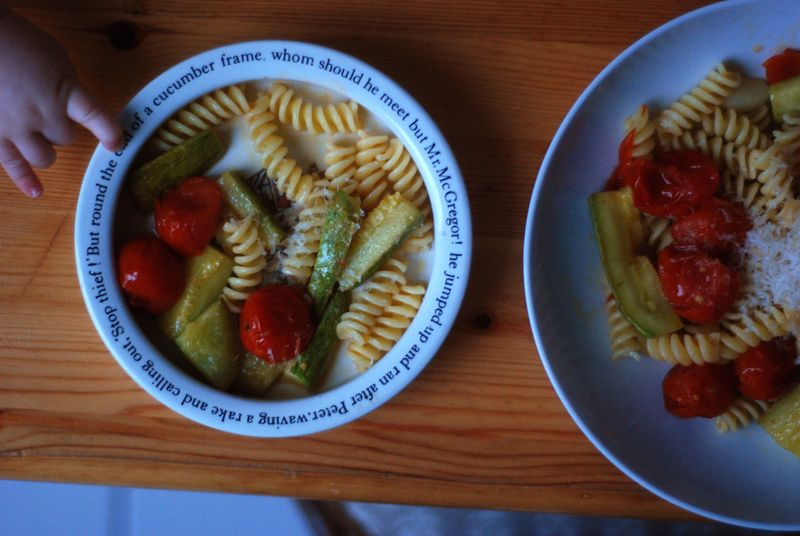 Fusilli with veg for baby