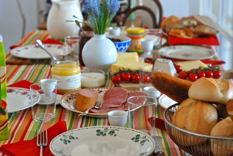 German breakfast spread