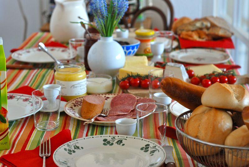 German breakfast spread