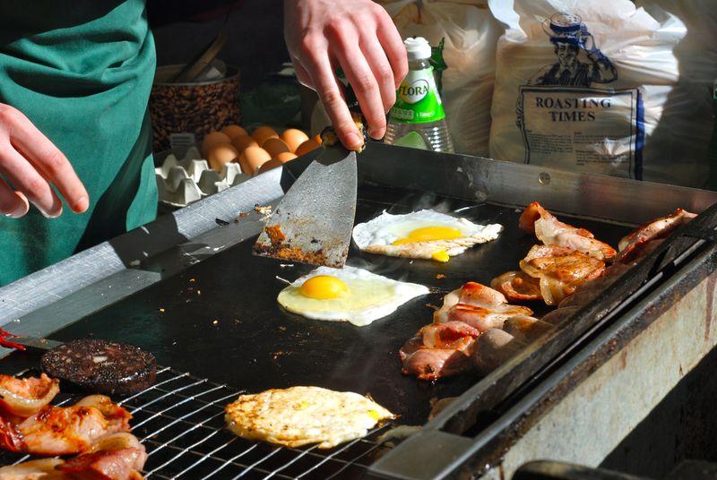 Preparing eggs at Barnes market