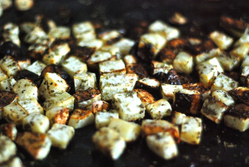 Whole30 roasted celery root with garlic-herb rub