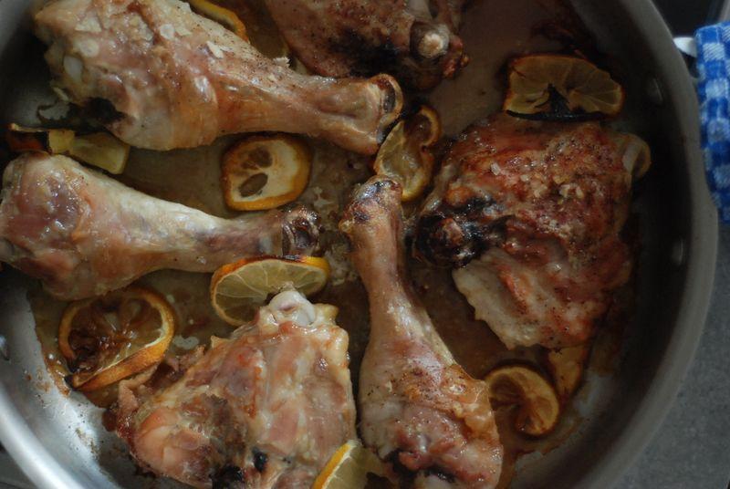 Pan-roasting chicken legs