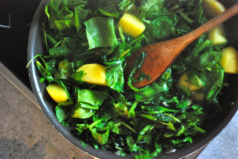 Fresh spinach and potatoes