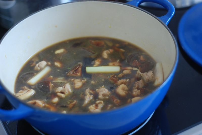 Chicken and shiitake mushrooms