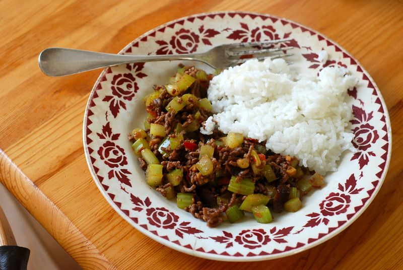 Sichuanese chopped celery with ground beef