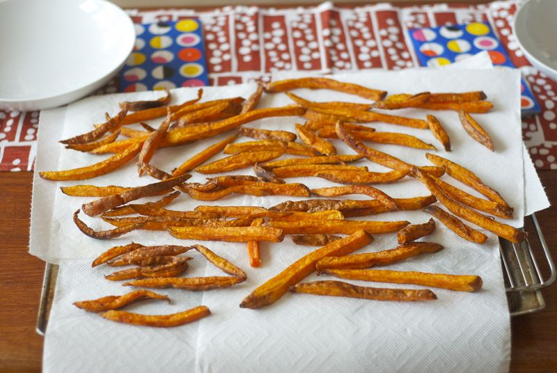 Slow-fried sweet potatoes
