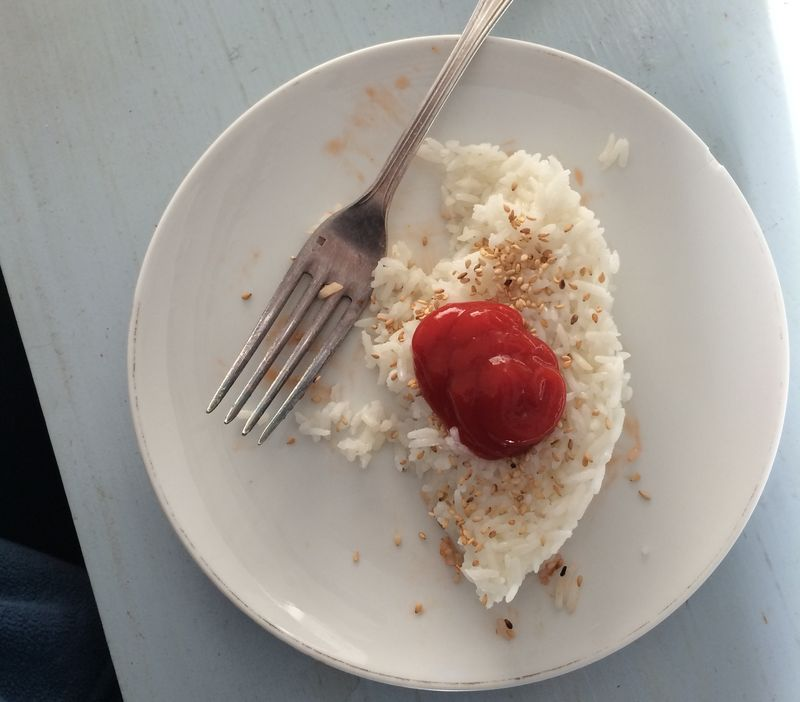 Rice with ketchup