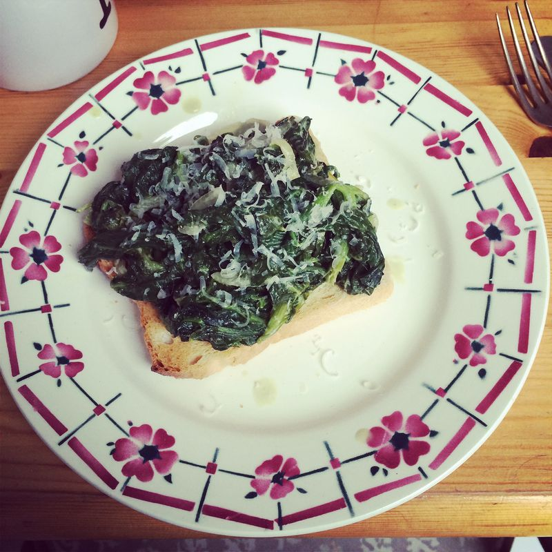 Creamed spinach on toast