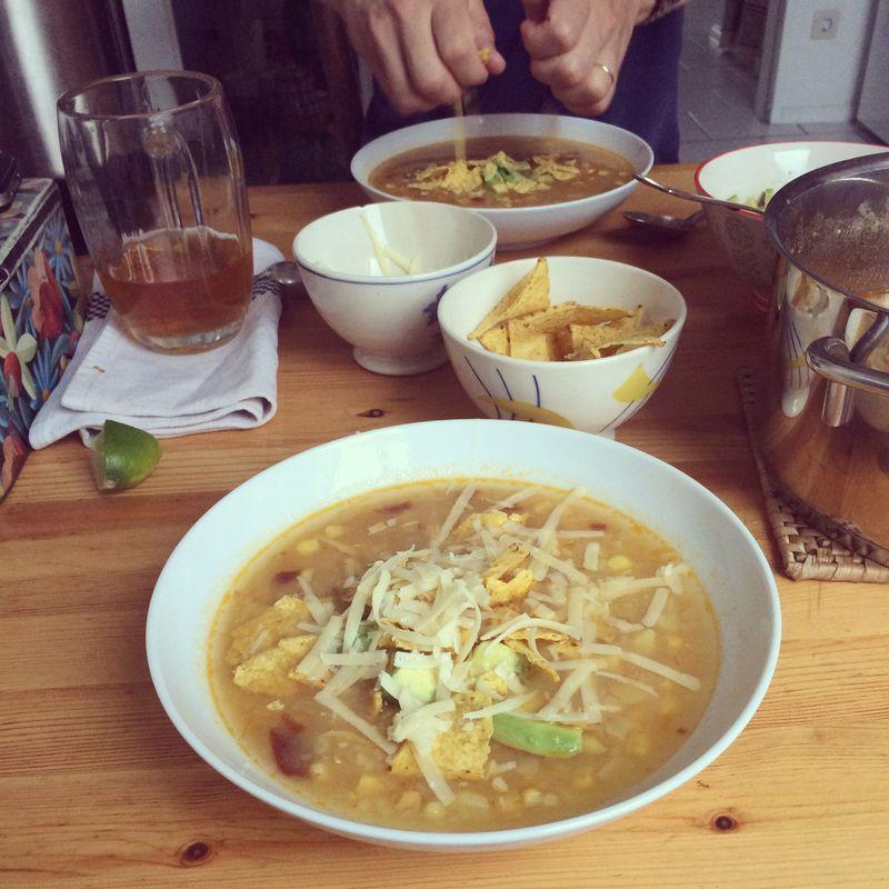 Potato, chile and corn soup
