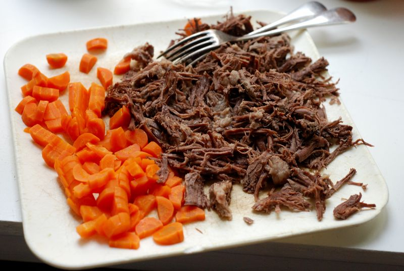 Shredded beef and carrots