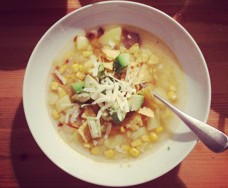 Potato, chile and corn soup