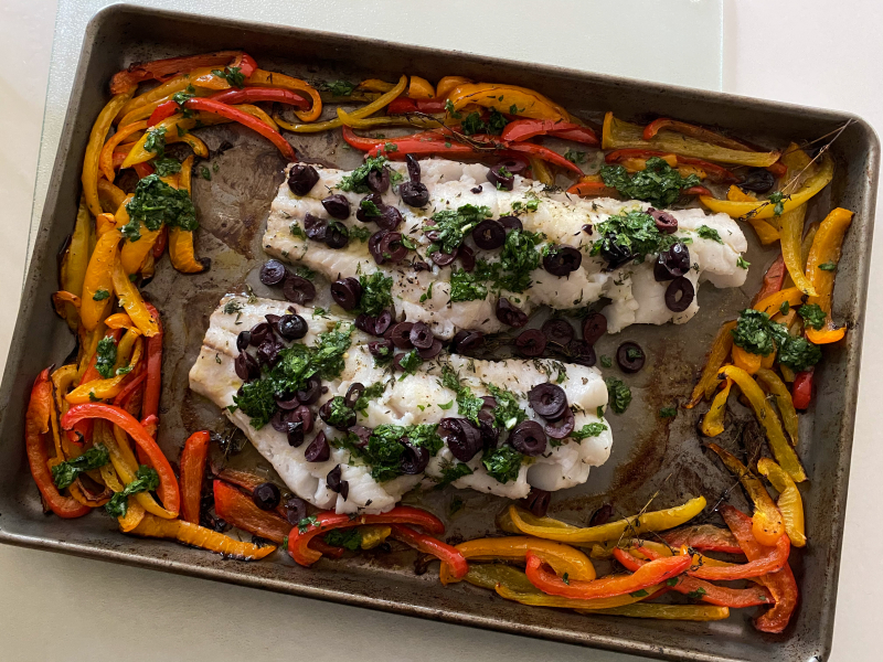 Melissa Clark's Roasted Fish with Sweet Peppers