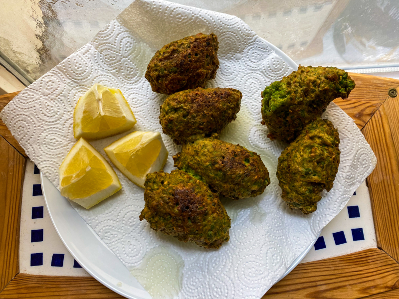 Ottolenghi's Pea Fritters with Feta and Za'atar